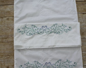 hand embroidered pillowcases (Pair)