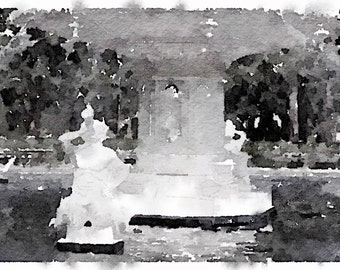 Savannah Fountain. Black and White Watercolor Print. Europe Design, Old Town Savannah. Printed on heavy stock watercolor paper.