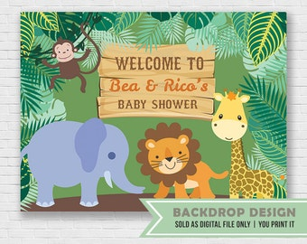 Safari Party Backdrop Banner // Baby Safari Theme Baby Shower // Safari Birthday Banner Backdrop