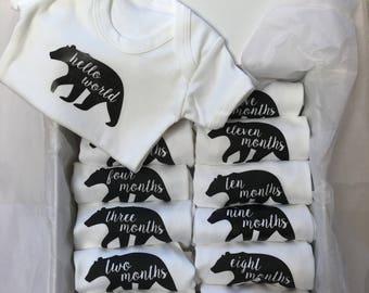 Baby bear Monthly Milestone Baby Vests