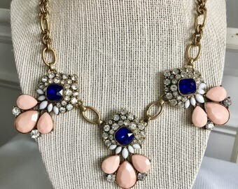 Sapphire Blue and Peach Statement Necklace