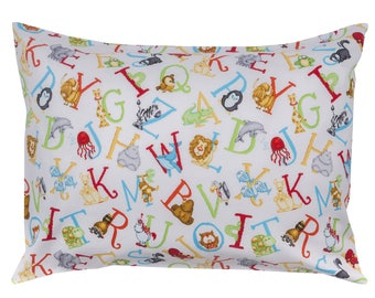"""The Toddler Pillow Co. Wild Alphabet - White Pillowcases - Perfect fit for all 13""""X18"""" and 13""""X19"""" Toddler Pillows!"""