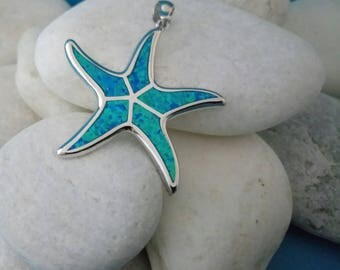 starfish charm, sterling silver opal starfish charm, silver 925 blue opal starfish pendant, greek silver opal jewelry, birthday gift