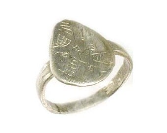AD1200 Ancient Roman Byzantine Greek Macedonia Engraved Stylized Abstract Design Silver Ring Size 7 #60613