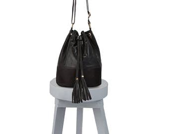 Bucket bag - Leather bucket bag - Drawstring bag - Bucket bag leather - Black bucket bag - Leather drawstring bucket bag, Bucket bags