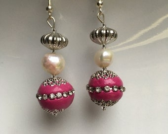 red silver bead with pearl and silver earring
