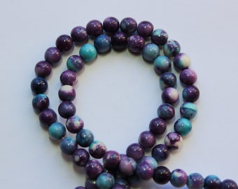 6mm Multi Colored Beads Blue Purple White Jade Rounds 15 inch Strand 62 Beads Stone Gemstone