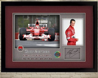 Michael Schumacher Ferrari signed autograph Formula 1 photo print Framed