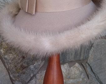 Elegant Creme Wool Fedora trimmed with Mink