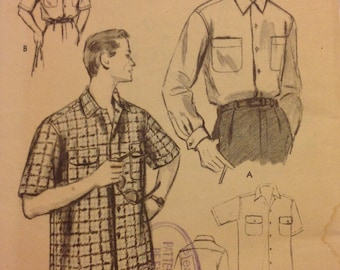 1954 Vogue mens sports shirt pattern no 8435 size 15-151/2 med.
