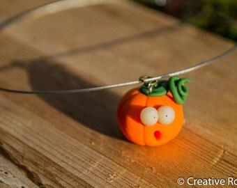 Shocked Pumpkin, Polymer Clay Necklace