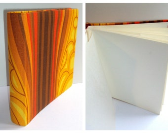 Photo album, 26 x 24.8 cm, printed fabric, orange, yellow, red, Brown, to postcards, vintage, 70s, pop,.