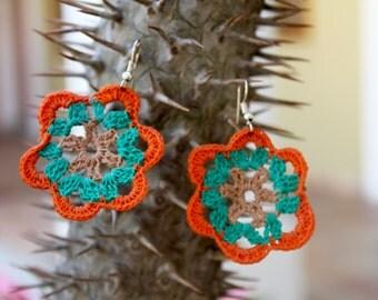 Lovely green an orange Crochet Earrings, Crochet Jewellery, Crochet Flower Earrings Gift, Cotton crochet earrings.