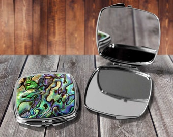 Abalone Shell Compact mirror, Make up mirror, Pocket mirror, Hand Mirror, Purse Mirror, Birthday gift, Gift for her