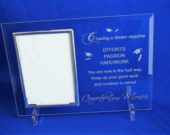 "FREE DELIVERY - Personalised Glass photo frame - hold 4X6"" or 10x15cm portrait orientation photo"