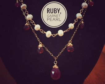 Ruby, garnet, and freshwater pearl necklace