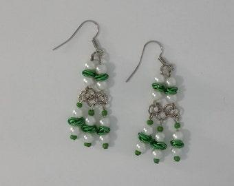Custom Hand Made Earrings Deep Green Rosettes with Pearl Beads