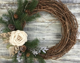 Winter wreath, Farmhouse Wreath, Winter Decor, Rustic Wreath, Farmhouse Decor, Front Door Wreath, Spring Wreath, Spring Decor, Wreath