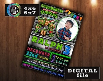 NINJA TURTLES Birthday Invitation, CUSTOM Digital File, Any age, With Photo
