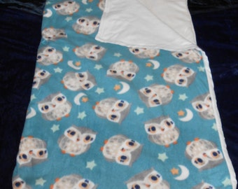 Teal/Ivory Owl Nap Sack With Tote Bag