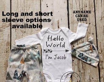 Baby Boy Coming Home Outfit, newborn boy coming home outfit, newborn boy, hello world, personalized onesie, adventure awaits
