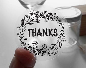 "Transparent or Silver Foil ""Thank You"" Ornate Labels Stickers Seals #R4008"