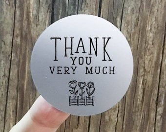 "Transparent or Silver Foil ""Thank You Very Much"" Labels Stickers Seals #R4047"