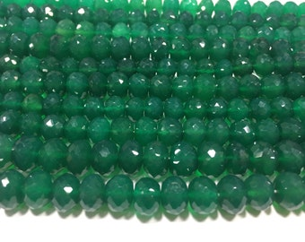 Green onyx rondelle beads, 8-10MM , 8.5 inch strand approx