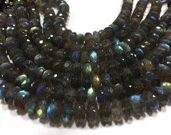 Labradorite rondelle beads,labradorite faceted,labradorite beads,AAA labradorite