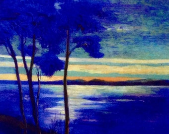 Sunset, GICLEE Art Print, Modern, Contemporary Painting, Bright Blue, Trees, Living Room Wall Art Decor,