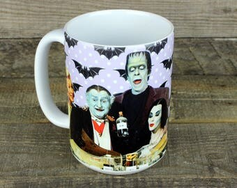The Munsters MUG Herman Lily Grandpa Marilyn Eddie gifts for Dad fathers day Boyfriend Gift Pastel goth gifts bats GOTHIC colorized vampire