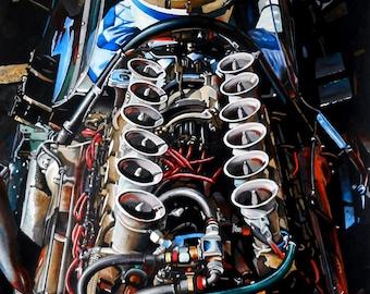 John Surtees, Surtees, Cooper T81, Maserati, Engine 1966, Marijan Pecar art, MarijanPecarArt, Formula 1, Sport racing car, Watercolor, Print