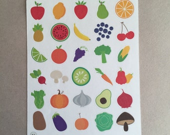 Fruit & Vegetable Decorative Stickers! [30 x Matte] Perfect for your planner or scrapbook!