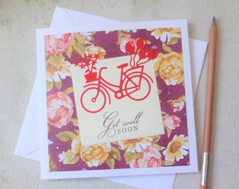 cute and colourful handmade get well soon card, sweet bicycle note card, flowers greeting card, funny and unique get well card,