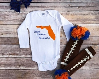 Home is where the heart is,Onesie®,baby girl clothes,toddler clothing,southern baby clothes, Florida girl, home sweet home,baby girl onesie®