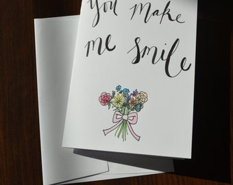 You make me smile handmade watercolor card (5 by 7)