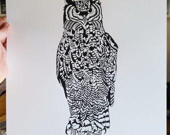 Owl - A3 Screen Print - Black