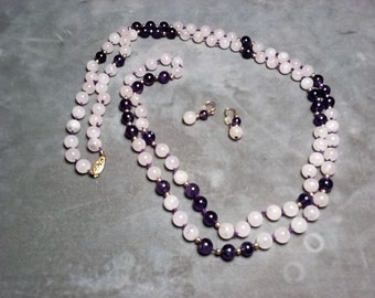 "Rose Quartz and Amethyst Necklace 50"" and Earrings"