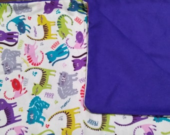 Cats with purple backing catnip blanket!