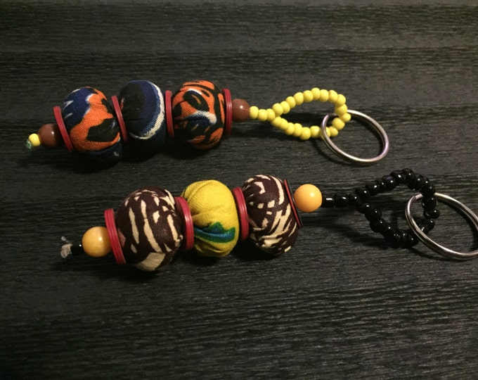 Key ring wax cloth and pearls