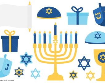 Hanukkah, Menorah, Dreidel, Star of David - Cute Clipart, Clip Art - Commercial Use, Instant Download
