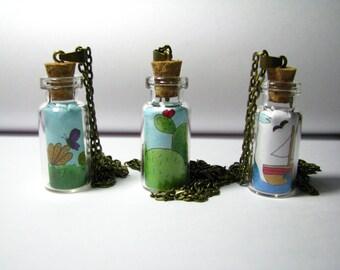 "Blown glass flask ""illustrations in a bottle"" handmade"