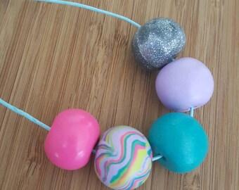 Rainbow handmade polymer clay beaded necklace