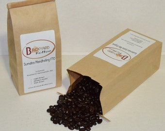 P16 - Two 8 oz Organic Roasted Whole Coffee Beans, Ethiopia Yirgacheffe FTO, Guatemala Organic, Sumatra Mandheling FTO, Bolivia FTO