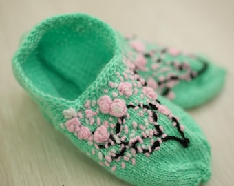 women's knitted slippers woolen home slippers with pink flowers mint slippers spring joyful slippers bridesmaids festive slippers  Knitted