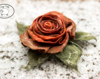 Rose Brooch Rose Jewelry Felted Flower Brooch,  Felted Rose Felt Brooch Wool Flower Gift for her
