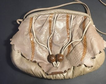 1980's purse clutch leather snakeskin tan