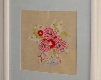 Dotty Leaves, Framed Textile Art, Wall Art, Fabric Collage