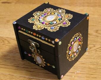 Midnight Jewel Keepsake Box - Henna Inspired Design - Henna Box