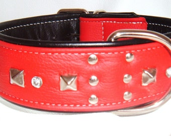 Red on Black leather studded dog collar with diamantes and White Stitching